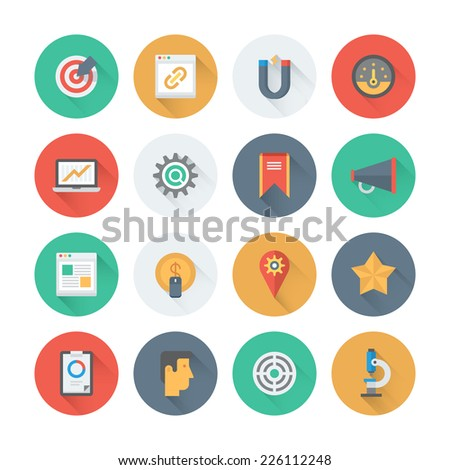 Pixel perfect flat icons set with long shadow effect of website searching engine optimization, seo analytics and data management, webpage traffic development. Flat design modern pictogram collection. - stock vector