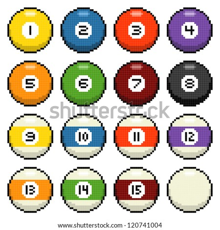 Pixel Pool Balls Isolated on White - stock vector
