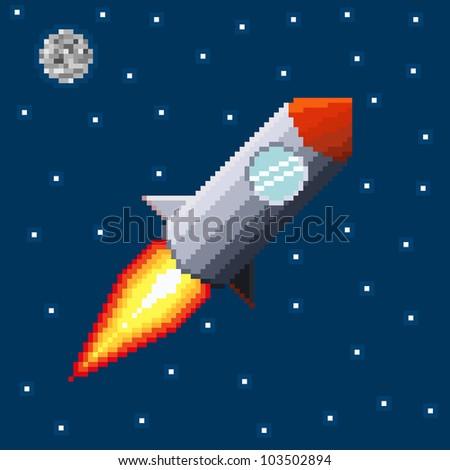 Pixel rocket in space. Vector illustration. - stock vector