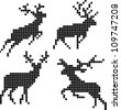 Pixel silhouettes of deers - stock vector