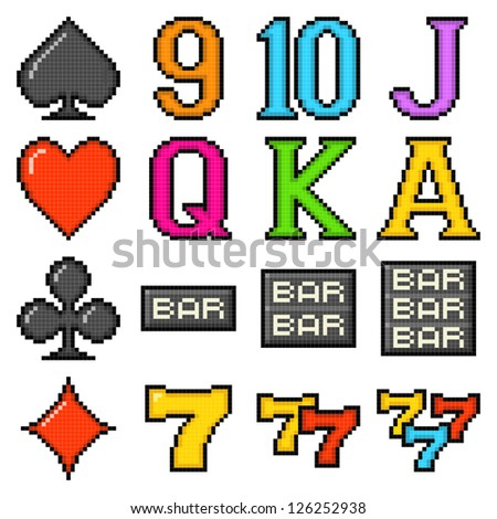 Pixel Slot Machine Symbols - stock vector