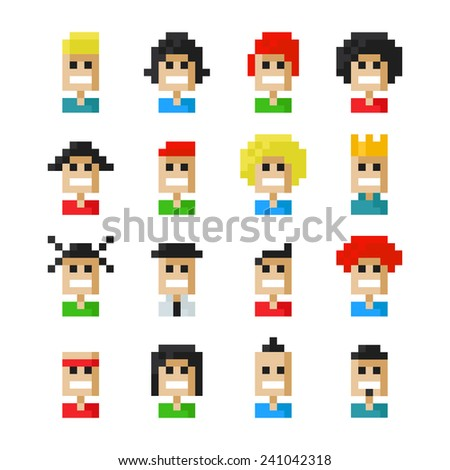 Pixel smile people faces icons. Vector illustration. 8 bit graphic style - stock vector