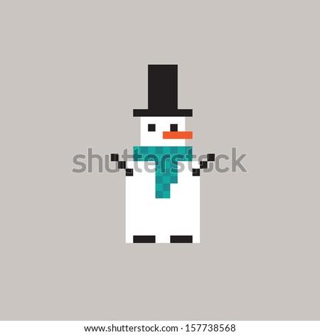 Pixel snowman. Vector art - stock vector