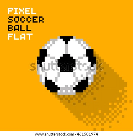 Pixel soccer ball in a flat design, pixelated illustration. - Stock vector