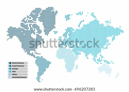 Pixel square shape world map continent stock vector 696207283 pixel square shape world map continent in multicolor on white background vector illustration gumiabroncs Image collections