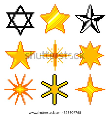 Pixel stars for games icons high detailed vector set - stock vector