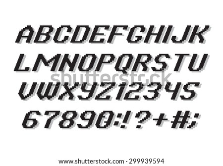 Pixel Style Alphabet font and numbers - stock vector