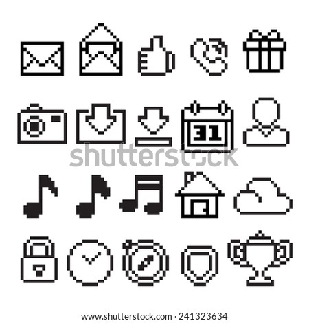 Pixel style for simple vector icons - stock vector