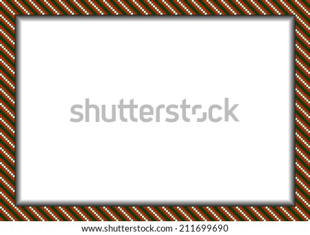 Pixel styled border (frame) in christmas colors (green, red, white, red) - stock vector