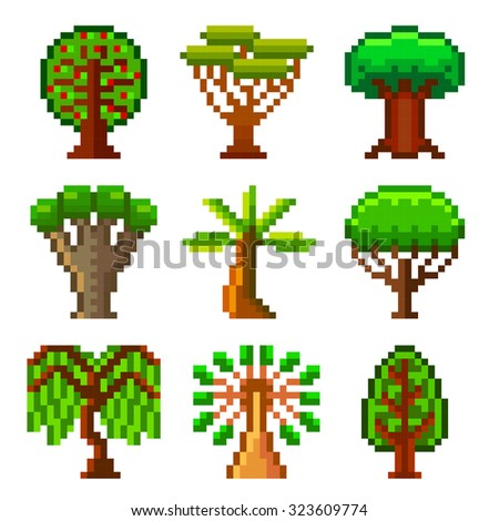 Pixel trees for games icons high detailed vector set - stock vector