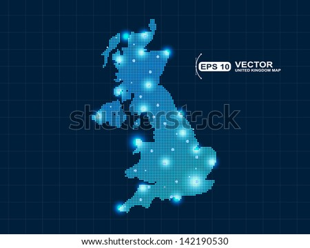 pixel United Kingdom map with spot lights - stock vector