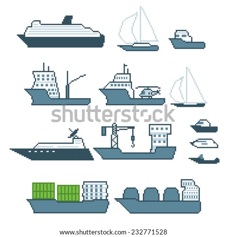 Pixel water transport icon set. Old school computer graphic style. - stock vector