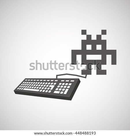 pixel with keyboard gamer icon vector illustration