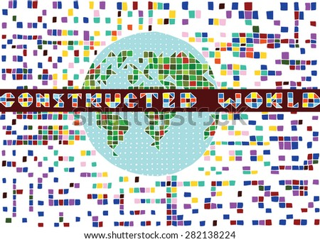 Pixel World Globe with Pixel Background(vector) - stock vector