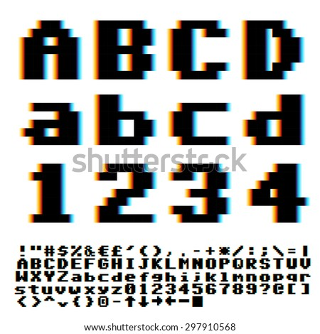 Pixelate old game style font with chromatic blue-yellow aberrations effect. Vector typeset - stock vector