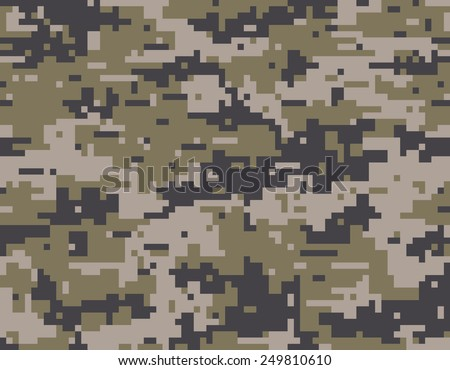 Pixelated camouflage seamless pattern - stock vector