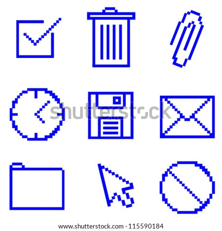 Pixelated Computer Icons - stock vector