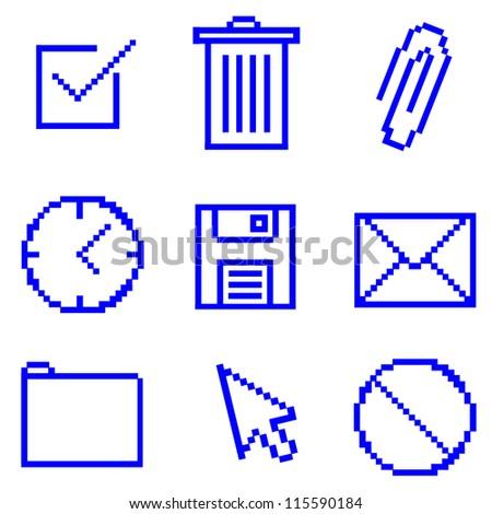 Pixelated Computer Icons - stock vector