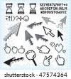 Pixelated design elements collection, separated vector obsolete icons, alphabet symbols, background, signs, arrow cursors... - stock photo