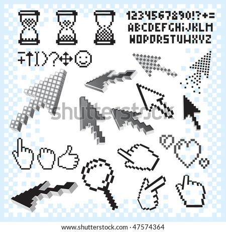 Pixelated design elements collection, separated vector obsolete icons, alphabet symbols, background, signs, arrow cursors... - stock vector
