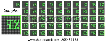 Pixelated Percentage Icons First Half Set 0-50 Black-Green Vector illustration  - stock vector
