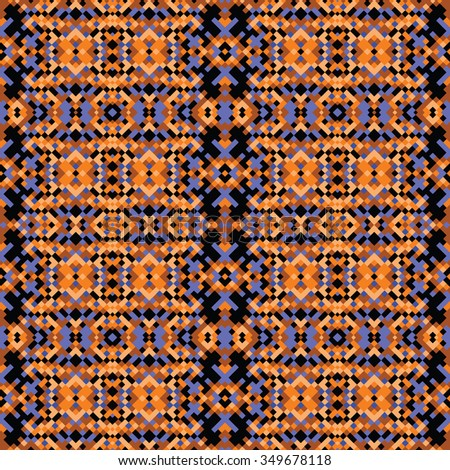 pixelated post-baltic wallpaper - vector seamless pattern, based on diagonal baltic ornaments - stock vector