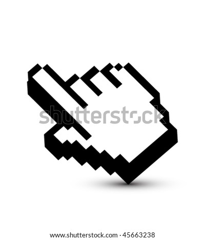 Pixeled hand pointer - stock vector