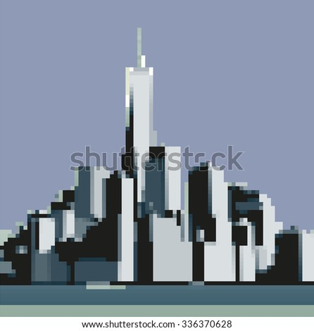 Pixels view of Manhattan from the Hudson River side. New York City - stock vector