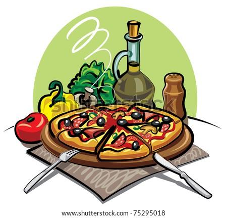 pizza - stock vector