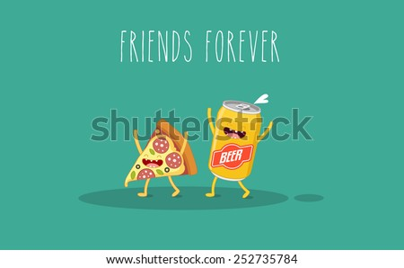 Pizza and beer. Fastfood. Vector cartoon. Friends forever. ?omic characters. - stock vector