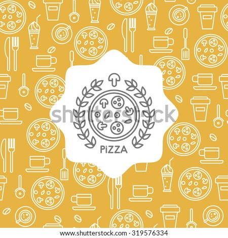 Pizza and coffee icons in a linear style, seamless pattern with the emblem of pizza for your design. - stock vector