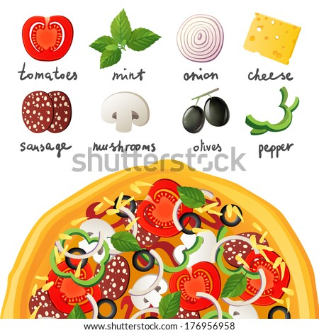 Pizza and ingredients for pizza - stock vector