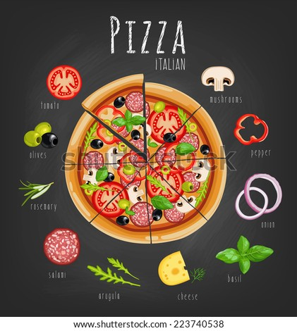 Pizza and ingredients for pizza on the chalkboard - stock vector