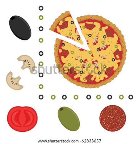 pizza and ingredients of pizza - stock vector