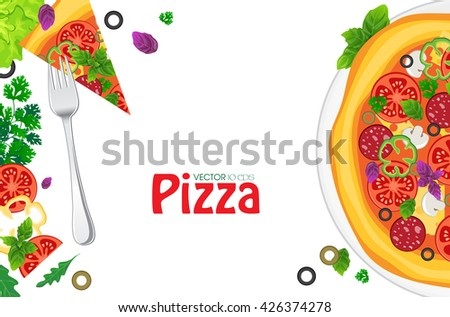 Pizza and ingredients on white wooden background - stock vector