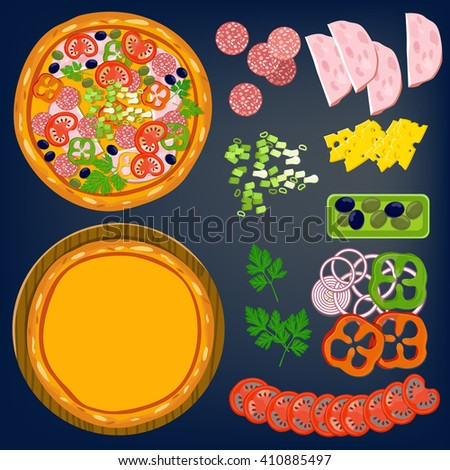 Pizza and ingredients: tomatoes, salami, black olives and other. Vector illustration for menu or games.