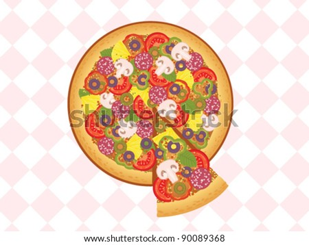 pizza and piece of pizza with mushrooms, tomato, peppers, olives ...