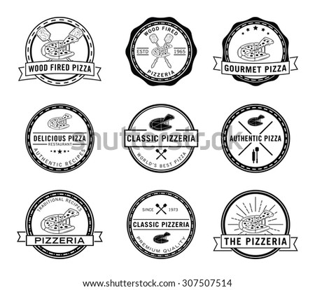 Pizza badge set collection - stock vector