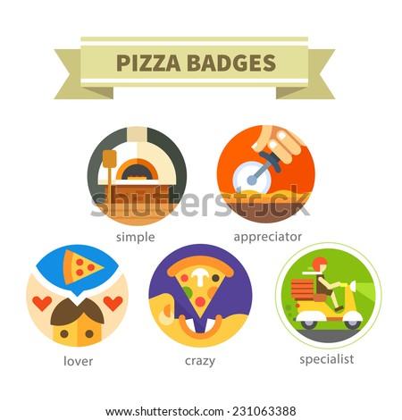 Pizza badges: simple, appreciator, lover, crazy, specialist. Delivery food. Vector flat icon set - stock vector