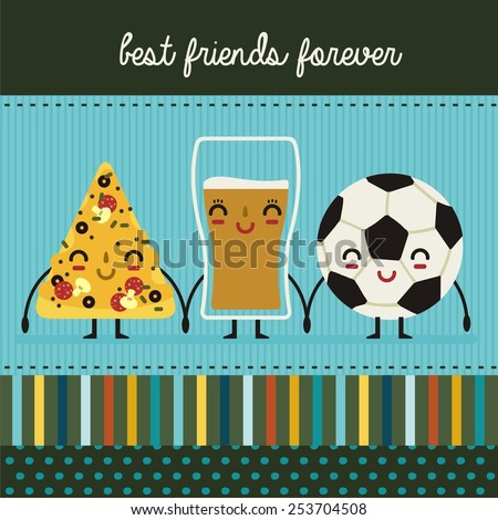 pizza, beer and football - stock vector