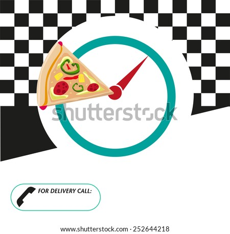 Pizza Box packaging layout design for restaurant menus, recipe book or packaging. - stock vector