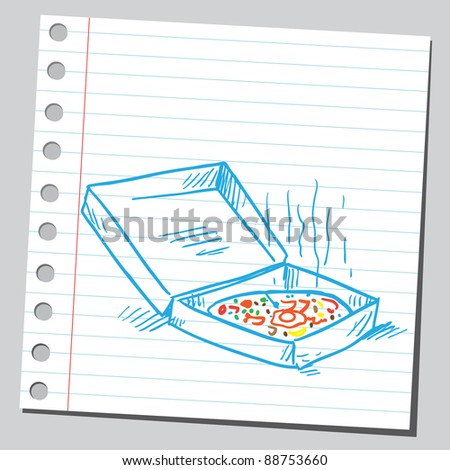 Pizza box sketch - stock vector