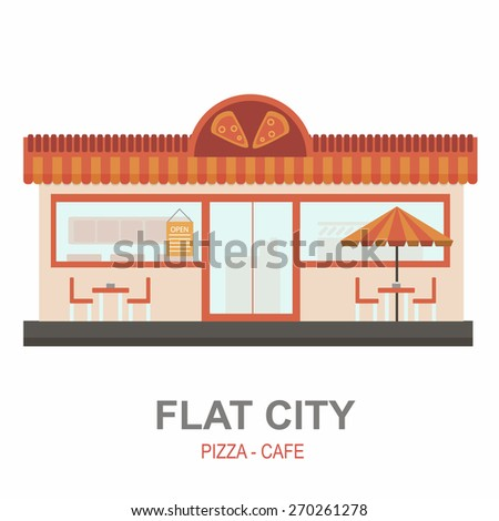 Pizza cafe building with logo and umbrella. Set of elements for construction of urban and village landscapes. Vector flat illustration - stock vector