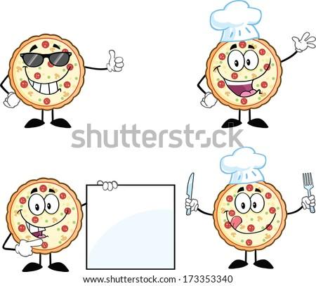 Pizza Cartoon Mascot Character 2. Vector Collection Set - stock vector