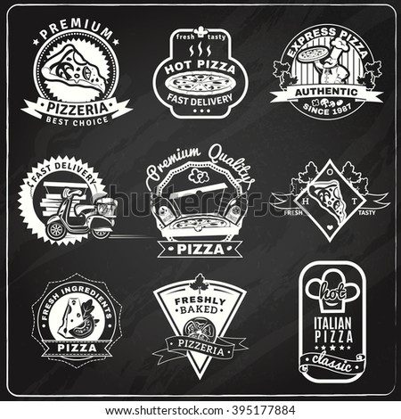 Pizza chalkboard emblems set with classic baked pizza symbols flat isolated vector illustration  - stock vector
