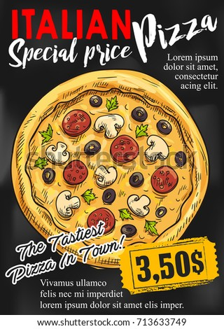 pizza chalkboard poster template italian pizza stock vector