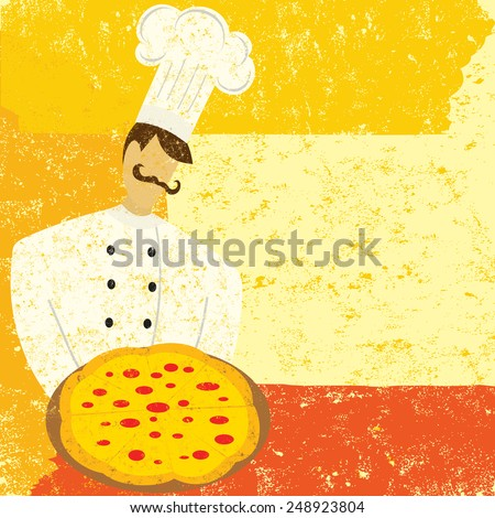Pizza Chef A chef holding a pizza. The chef is on a separate labeled layer from the background. - stock vector