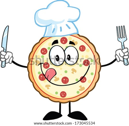 Pizza Chef Cartoon Mascot Character With Knife And Fork. Vector Illustration Isolated on white - stock vector