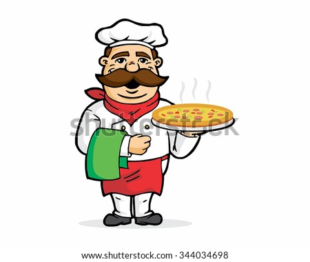 pizza chef mustache character illustration mascot logo icon vector