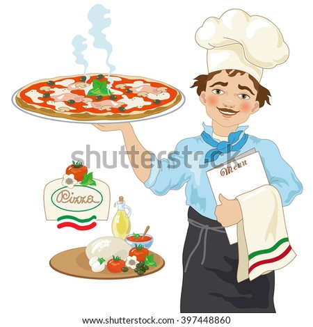 Pizza Chef on White Background